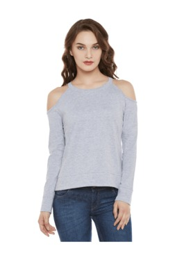 Miss Chase Grey Textured Cotton Top - Mp000000003339512