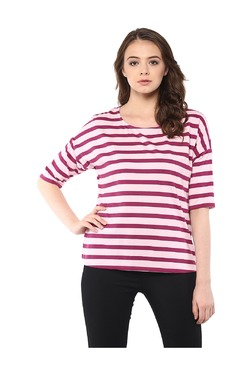 Miss Chase Light Pink & Maroon Striped Cotton Top