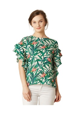 Miss Chase Off White Floral Print Crepe Top