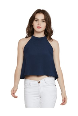 Miss Chase Navy Crepe Crop Top