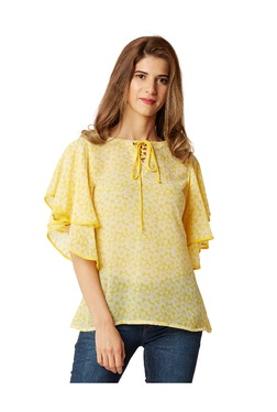 Miss Chase Yellow Floral Print Georgette Top