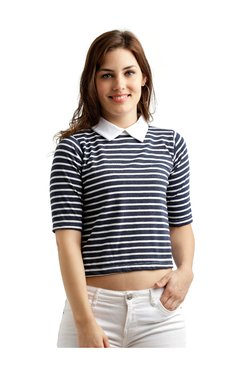Miss Chase Navy & White Striped Cotton Crop Top