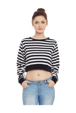 Miss Chase Black Striped Cotton Crop Top