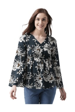 Miss Chase Black Floral Print Polyster Top