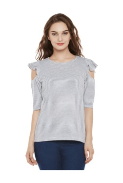 Miss Chase White & Grey Striped Cotton Top