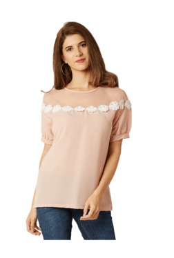 Miss Chase Pink Lace Crepe Top
