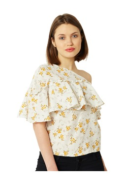 Miss Chase White Floral Print Crepe Top