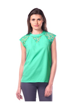 Miss Chase Sea Green Lace Crepe Top