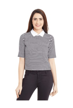 Miss Chase Black & White Striped Cotton Crop Top