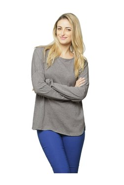 Miss Chase Grey Textured Cotton Top - Mp000000003340655