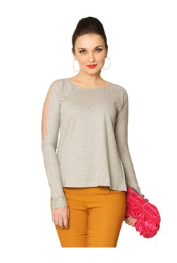 Miss Chase Grey Textured Cotton Top - Mp000000003340697