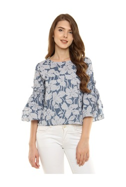 Miss Chase Blue & White Floral Print Cotton Top