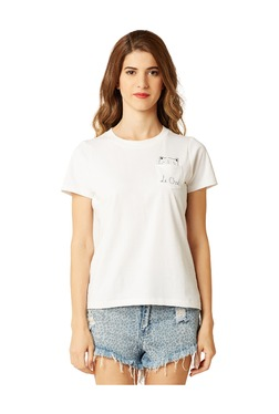 Miss Chase White Printed Cotton T-Shirt