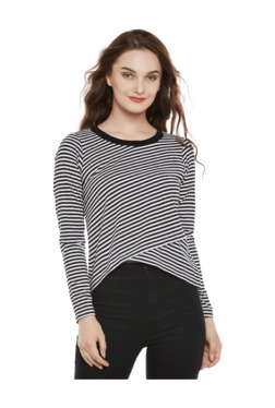 Miss Chase White & Black Striped Cotton Top