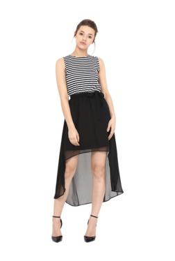 Miss Chase Black & White Striped Above Knee Dress