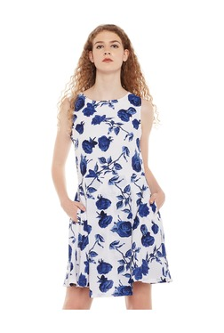 Miss Chase White & Blue Floral Print Above Knee Dress