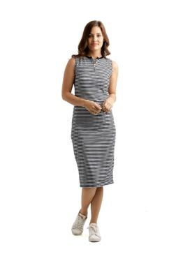 Miss Chase White & Black Striped Midi Dress
