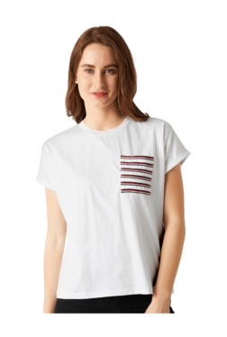 Miss Chase White Loose Fit T-Shirt