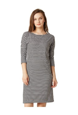 Miss Chase Black & White Striped Knee Length Dress