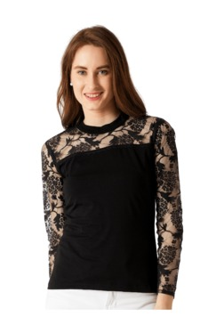 Miss Chase Black Lace Slim Fit Top