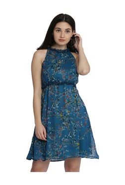 Miss Chase Blue Floral Print Knee Length Dress