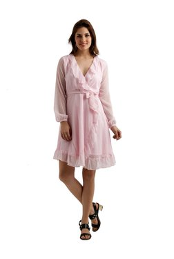 Miss Chase Pink Self Print Knee Length Dress