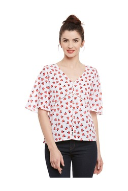 Miss Chase Off White Floral Print Top