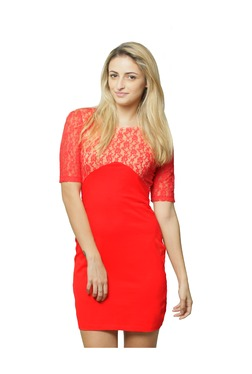 Miss Chase Coral Lace Mini Dress