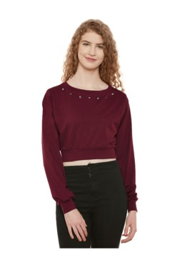 Miss Chase Maroon Loose Fit Crop Top