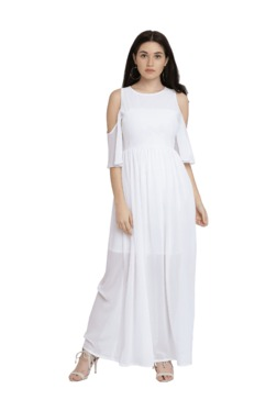 Miss Chase White Slim Fit Maxi Dress