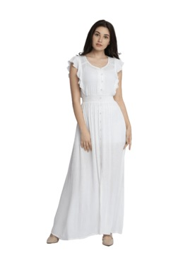 Miss Chase White Relaxed Fit Maxi Dress