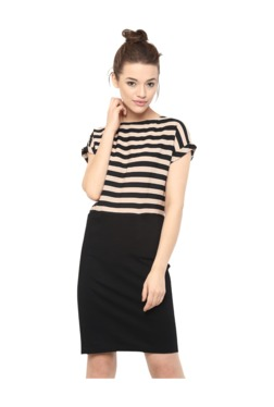 Miss Chase Black & Beige Striped Above Knee Dress