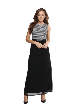 Miss Chase Black & White Striped Maxi Dress