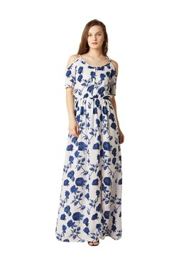 Miss Chase Off White Floral Print Maxi Dress