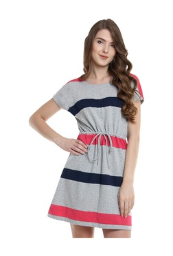 Miss Chase Grey Striped Mini Dress