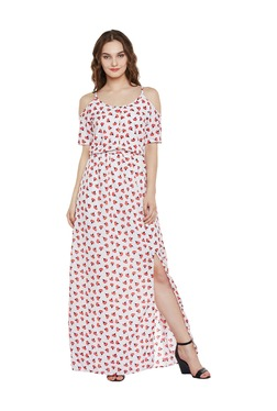 Miss Chase White Floral Print Maxi Dress