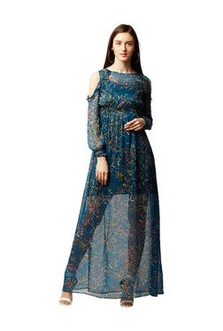Miss Chase Blue Floral Print Maxi Dress