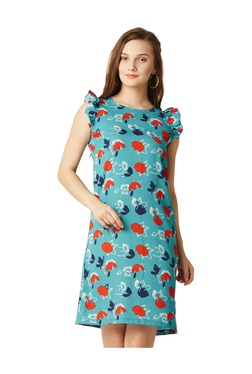 Miss Chase Blue Floral Print Above Knee Dress