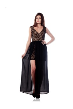 Miss Chase Black Lace Maxi Dress