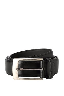 Peter England Black Solid Leather Narrow Belt