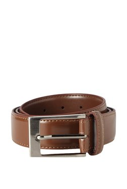 Peter England Brown Solid Leather Narrow Belt - Mp000000003349687