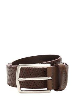 Van Heusen Brown Interlaced Leather Narrow Belt