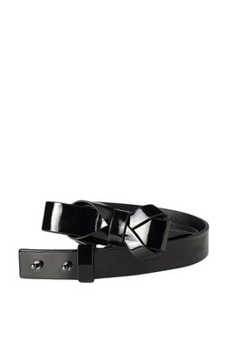 People Black Bow Leather Narrow Belt