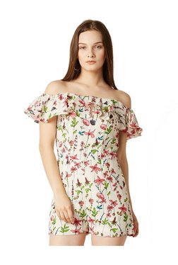 Miss Chase Off White Floral Print Playsuit