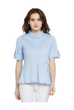 Miss Chase Light Blue Relaxed Fit Shirt - Mp000000003353077