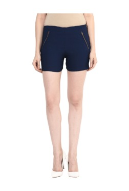 Miss Chase Navy Slim Fit Cotton Shorts
