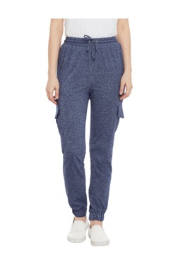 Miss Chase Navy Relaxed Fit Cotton Joggers