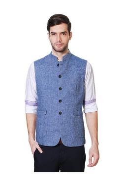 Van Heusen Blue Slim Fit Nehru Jacket