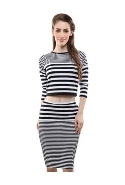 Miss Chase White & Black Striped Knee Length Skirt