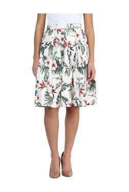 Miss Chase White Floral Print Knee Length Skirt